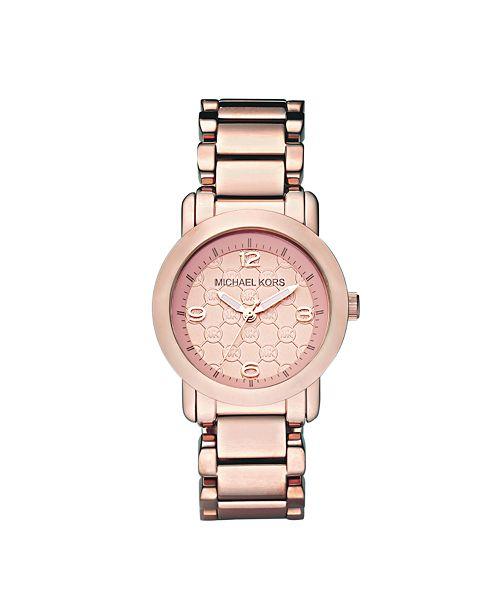 53ef4c07efb5 Michael Kors Women s Janey Rose Gold-Tone Stainless Steel Bracelet Watch ...