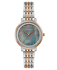 BCBG MaxAzria Ladies Two Tone Rose GoldTone Bracelet Watch with Grey MOP Dial, 33MM
