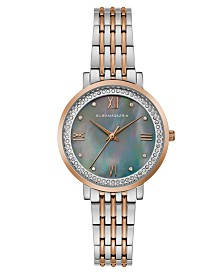 BCBGMAXAZRIA Ladies Two Tone Rose GoldTone Bracelet Watch with Grey MOP Dial, 33mm