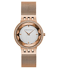 Ladies Rose Gold Tone Mesh Bracelet Watch with Silver Dial, 35mm