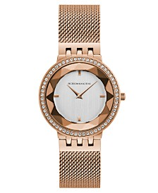 BCBGMAXAZRIA Ladies Rose Gold Tone Mesh Bracelet Watch with Silver Dial, 35mm