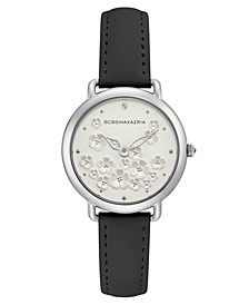 Ladies Black Leather Strap with Floral Dial and Silver Case, 34mm