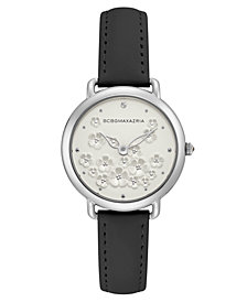 BCBG MaxAzria Ladies Black Leather Strap with Floral Dial and Silver Case, 34MM