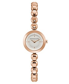 Ladies Rose Gold Bracelet Watch with Silver Dial, 20mm