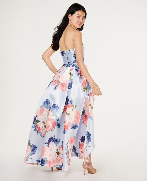 432103c09f2 ... Speechless Juniors  Strapless Allover-Floral High-Low Gown
