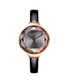 RumbaTime Orchard Gem Black Diamond Patent Leather Women's Watch