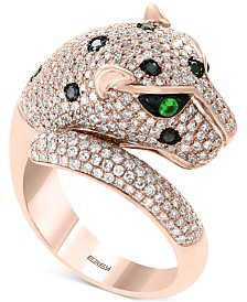 EFFY® Diamond (1-1/2 ct. t.w.) & Tsavorite Accent Panther Ring in 14k Rose Gold