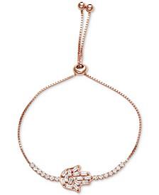 Cubic Zirconia Hamsa Hand Bolo Bracelet in Sterling Silver