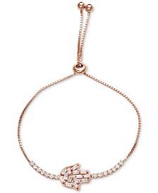 Tiara Cubic Zirconia Hamsa Hand Bolo Bracelet in Sterling Silver
