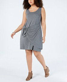Style & Co Plus Size Tie-Front Swing Dress, Created for Macy's