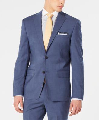 Men's Modern-Fit Stretch Blue Mini-Check Suit Jacket