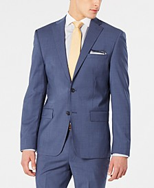 Men's Modern-Fit Stretch Blue Mini-Check Suit Jacket