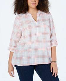 Style & Co Plus Size Cotton Windowpane Plaid Split-Neck Shirt, Created for Macy's