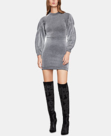 BCBGMAXAZRIA Metallic Bubble-Sleeve Dress