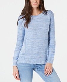 NY Collection Petite Space-Dyed Cutout-Back Sweater