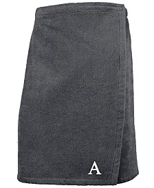 Linum Home 100% Turkish Cotton Terry Personalized Men's Bath Wrap - Dark Grey