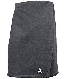 Linum Home 100% Turkish Cotton Terry Personalized Men's Bath Wrap - Dark Grey