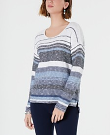 Style & Co Striped Drop-Shoulder Sweater, Created for Macy's