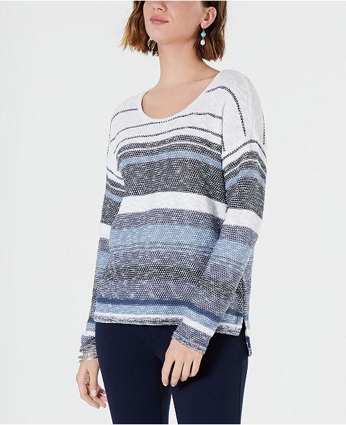 9493a7fdbb ... Style   Co Petite Striped Drop-Shoulder Sweater
