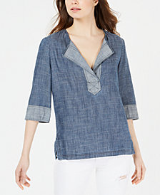 Trina Turk Denim Split-Neck Top