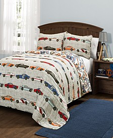 Race Cars Reversible 3-Piece Full/Queen Quilt Set