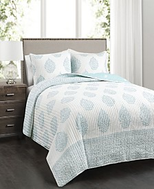 Teardrop Leaf 3-Pc Set Full/Queen Quilt Set
