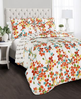 Weeping Flower 3-Pc Set Full/Queen Quilt Set