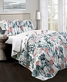 Zuri Flora 3-Pc Set Full/Queen Quilt Set