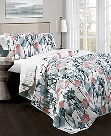 Zuri Flora 3-Pc Set Full/Queen Quilt Set