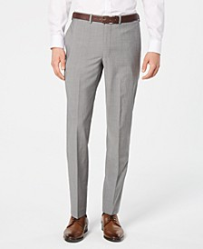 Men's Modern-Fit Stretch Light Gray Suit Pants