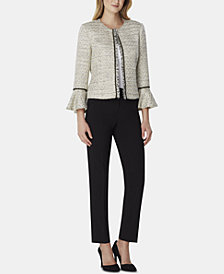 Tahari ASL Fringed-Trim Boucle Jacket
