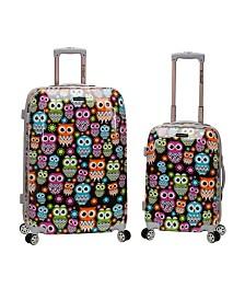 Rockland Owls 2PCE Hardside Upright Luggage Set