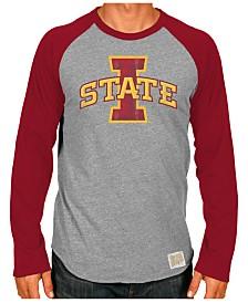 Retro Brand Men's Iowa State Cyclones Color Blocked Long Sleeve Raglan T-Shirt