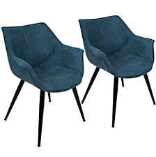 Lumisource Wrangler Accent Chair in Rust Set of 2
