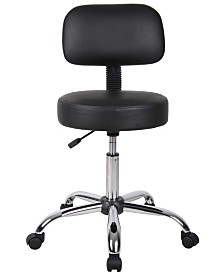 Boss Office Products Adjustable Backed Wheeled Stool