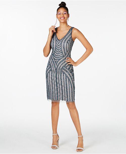 Adrianna Papell Beaded Short Sheath Dress