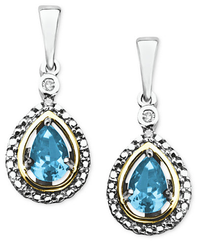 14k Gold and Sterling Silver Earrings, Blue Topaz (1 ct. t.w.) and Diamond Accent Teardrop Earrings