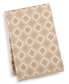 """Tile Diamond Cotton 30"""" x 56"""" Bath Towel, Created for Macy's"""