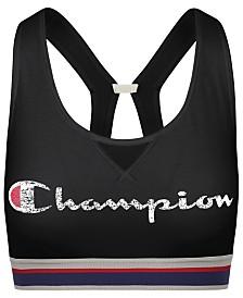 Champion Authentic Logo-Print Cutout Racerback Medium-Support Sports Bra