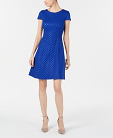 Jessica Howard Tonal Dot A-Line Dress