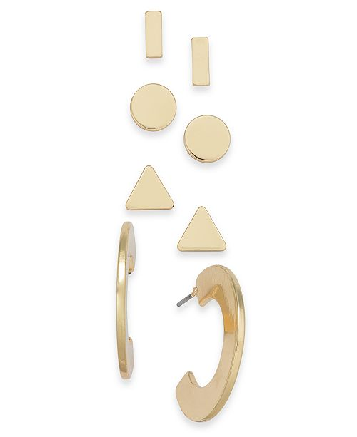 INC International Concepts I.N.C. Gold-Tone 3-Pc. Stackable Flat Disc Earrings, Created for Macy's
