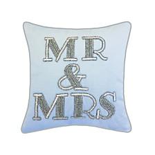 "Edie@Home Celebrations Pillow Beaded ""Mr & Mrs"""