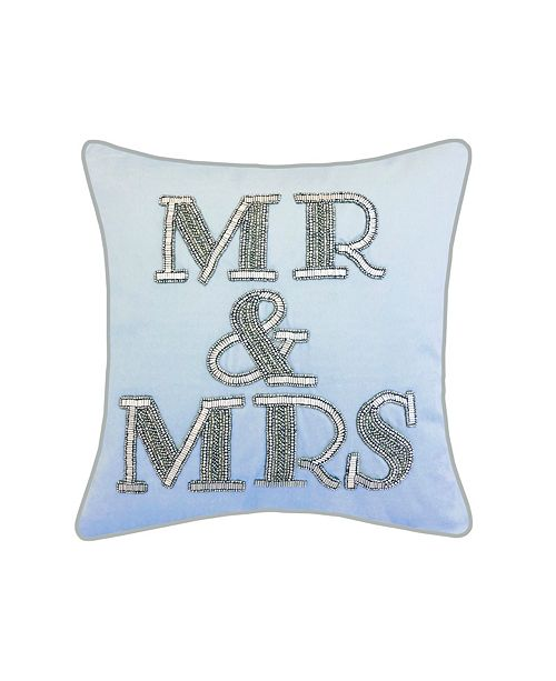 "Edie@Home Celebrations Pillow Beaded ""Mr & Mrs"""