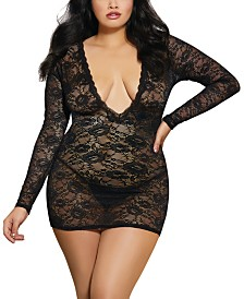 Dreamgirl Plus Size Plunge Front Lace Chemise