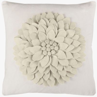 "18"" x 18"" 3-D Floral Pillow Cover"