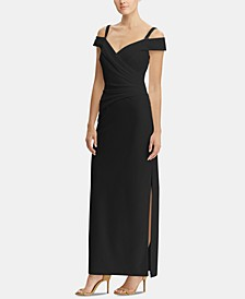 Embellished-Strap Off-The-Shoulder Gown