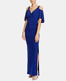 Lauren Ralph Lauren Cold-Shoulder Gown