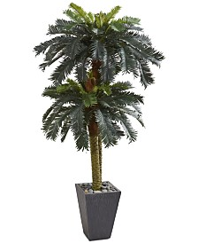 Nearly Natural 6' Double Sago Palm Artificial Tree in Slate-Finish Planter