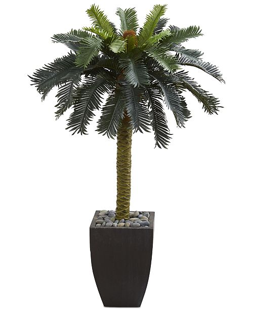 Nearly Natural 4.5' Sago Artificial Palm Tree in Black Planter