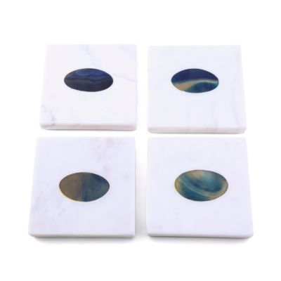 Set of 4 White Marble Coasters with Blue Agate